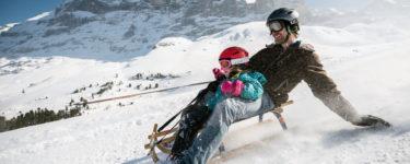 Familie auf dem Schlitten runter von Kleine Scheidegg nach Alpiglen