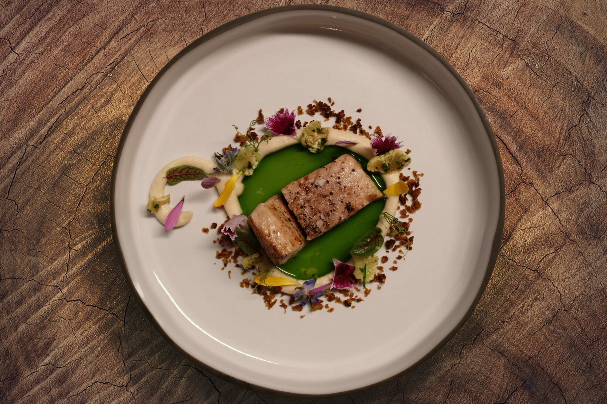 Salmon with cress oil and coliflower by Chef Jonas Messer